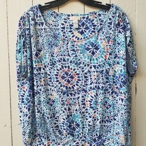 CHICOS Awesome Top Blouse Short Sleeve Blue Multi